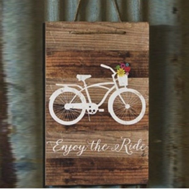 Enjoy the Ride Bicycle Wood Sign