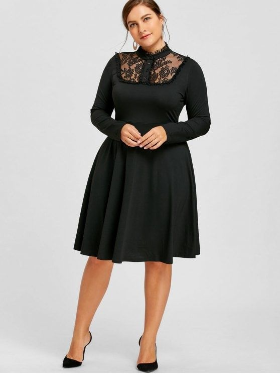 f89c5720126 Plus Size Lace Trim Fit and Flare Dress