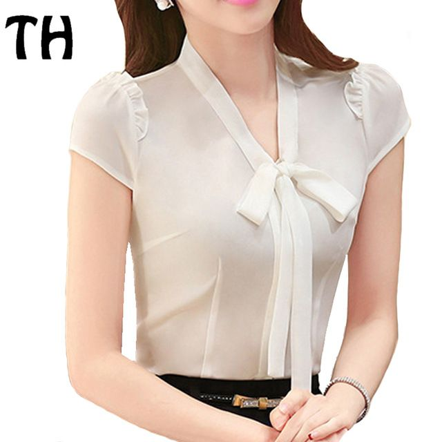 2016 Summer OL Work Chiffon Shirt Ladies' Office Formal Blouse Women Slim Fit Bow V-neck Blusas Femme Ropa Mujer #160526
