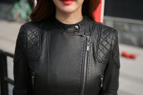 women leather coat casual short lapels Ladies Biker Jacket outerwear plus size | eBay