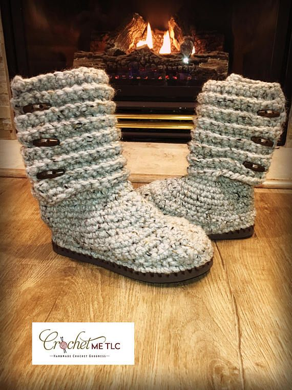 This listing is for one pair of crocheted boot slippers with a flip-flop sole ♥ Item will be made especially for you, currently there is an **8 WEEK WAIT LIST** for these. ♥ Choice of buttons - I will confirm with you which ones you would like upon your order ♥ Colour of flipflop