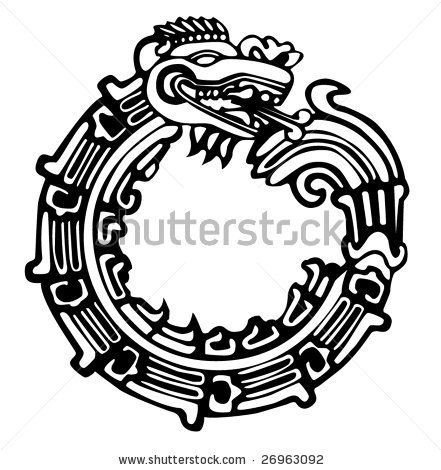 stock vector : Aztec Maya dragon, vector, great for tattoo. Can be fully personalized and colored.