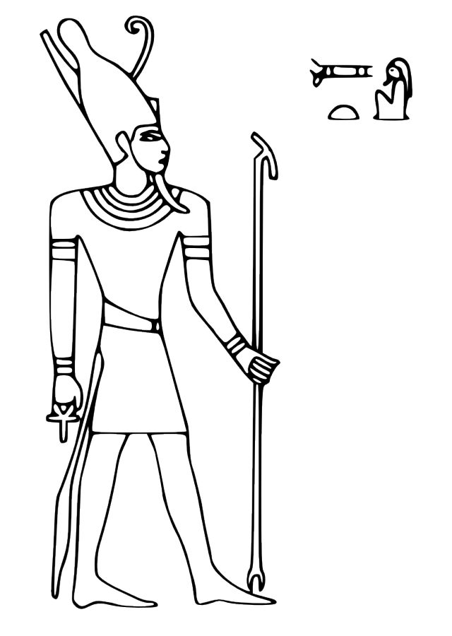 Pharaoh Coloring Pages Egyptian God Egyptian Gods Coloring