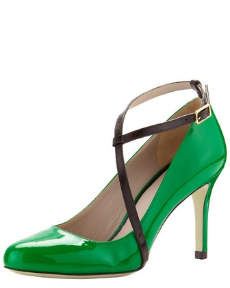 Ankle-Wrap Patent Pump in brilliant beetle green. #BGJasonWu: Shoes, Fashion, Style, Jason Wu, Wu Ankle Wrap, Pumps, Ankle Wrap Patent, Patent Pump, Jasonwu
