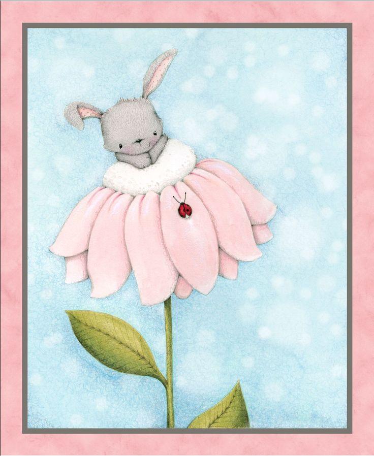 QT/Bunny Love - BAVLNA - Panel králíčkový VELKÝ/Blue