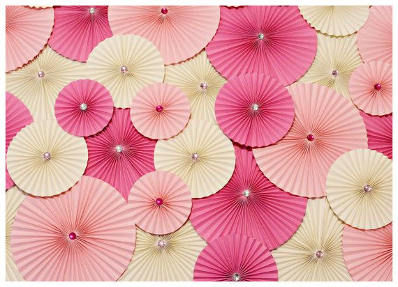 Pink Decoration, Paper Wheel Fan Flowers, Backdrop for Weddings, Birthday Decoration, Baby Showers, Accordion Flowers, Candy Buffet Decor. $125.00, via Etsy.