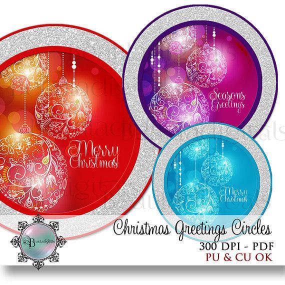 Christmas  Seasons Greetings Sparkly Circles   by Beauladigitals