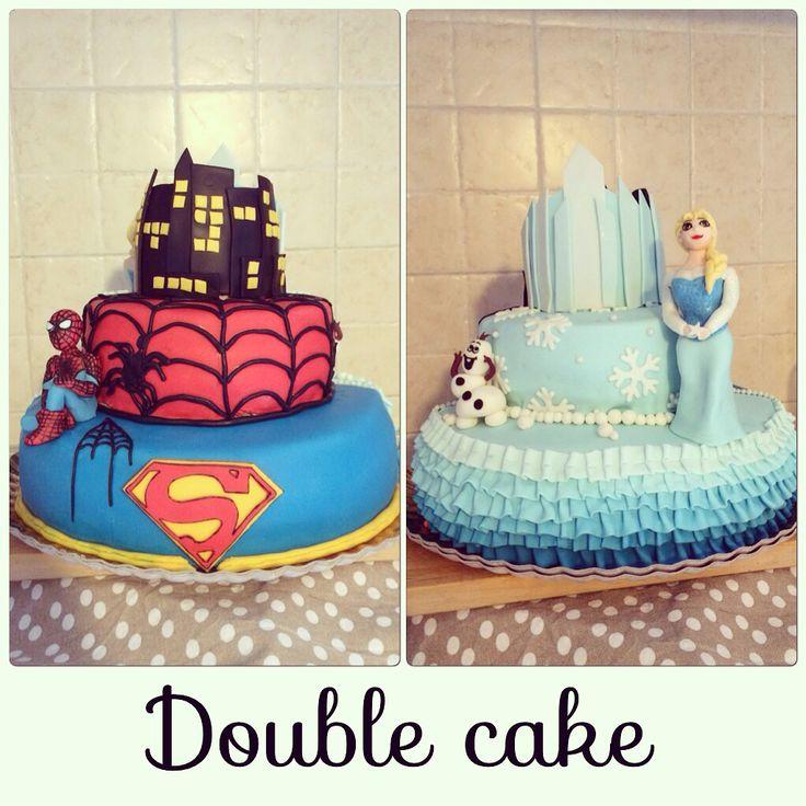 Double cake frozen cake spiderman supereroi