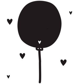 ​Decorative wall sticker of a black balloon with 29 little heart stickers. With these cool wall stickers you give the kids room a new look in an instant!  Sizes: 16.6 x 31 cm (large sticker) Contents: 1 large and 29 small stickers