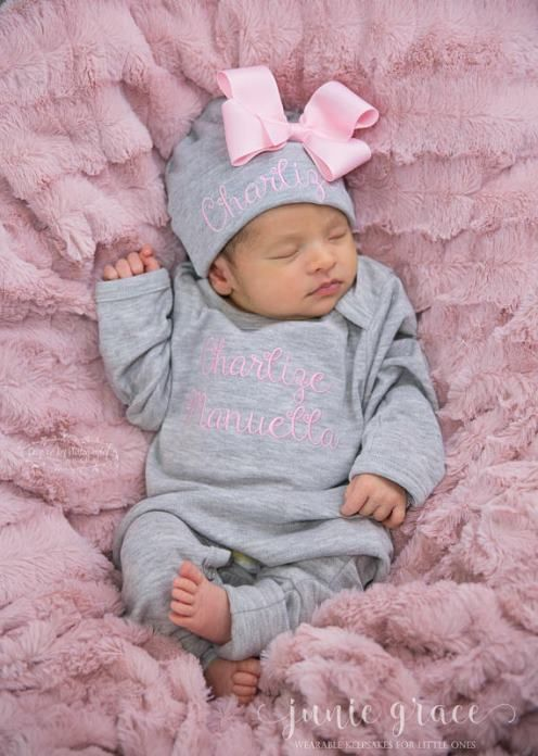 1e3a8df6eb7 Newborn Baby Girls Personalized Gray and Pink Newborn Romper with Matching  Hat Infant Outfit Set