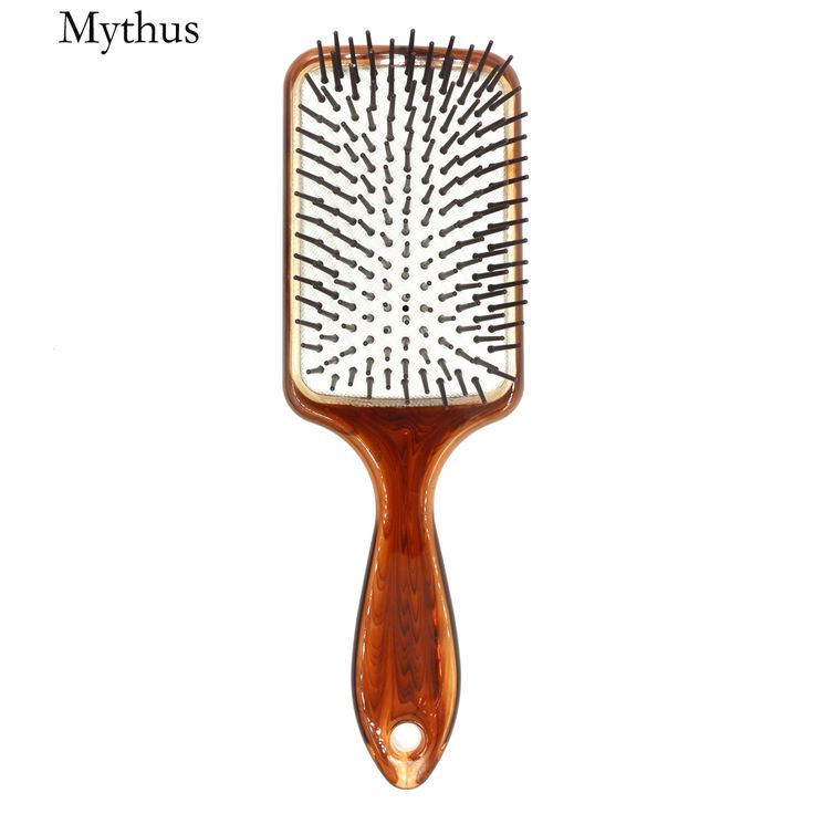 Hand Made Amber Air Cushion Hairstyling Paddle Brush Salon Detangler Brush Comb Spa Hair Massage Brush For Long Hair Anti-Static