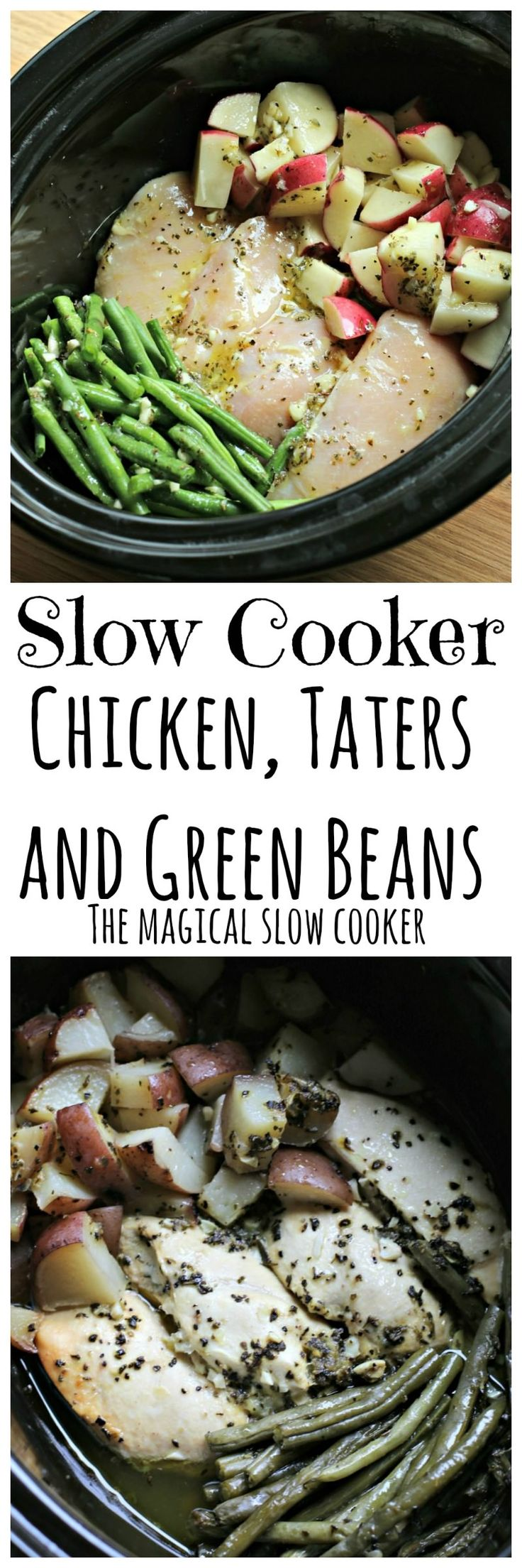 Slow Cooker Seasoned Chicken, Tater and Green Beans  ***Good Tip:  Brown chicken in oven on 'broil' for 10 min.