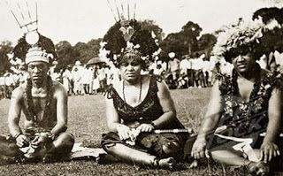 Samoans dressed in traditional attire.