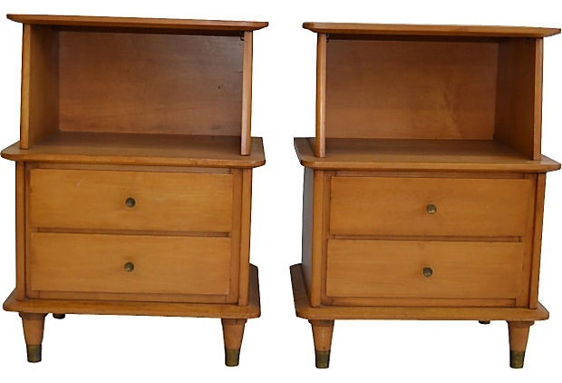 Midcentury Nightstands that are twenty-seven inches tall. Pieces which actually are tall enough to be bedside tables. I could easily see these in a master bedroom with a tufted headboard, or a simple wood framed bed. Wouldn't go with an iron or metal frame, nor would I put these with a sleigh bed either. To much wood.