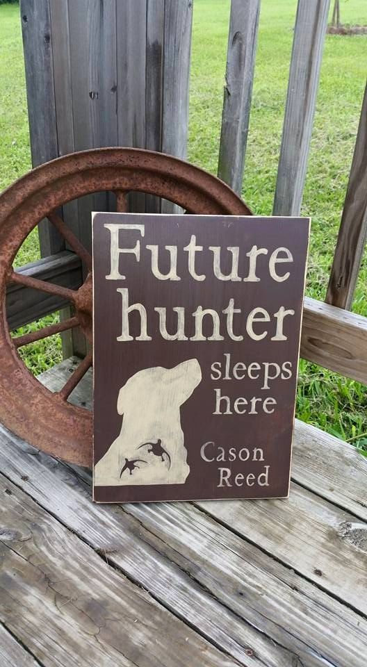 Future Hunter Sleeps Here - Wood Sign - Nursery Room Hunting Decor - Labrador Duck Hunting Sign - Hunting Wooden Sign - Wall Decor - Custom - pinned by pin4etsy.com