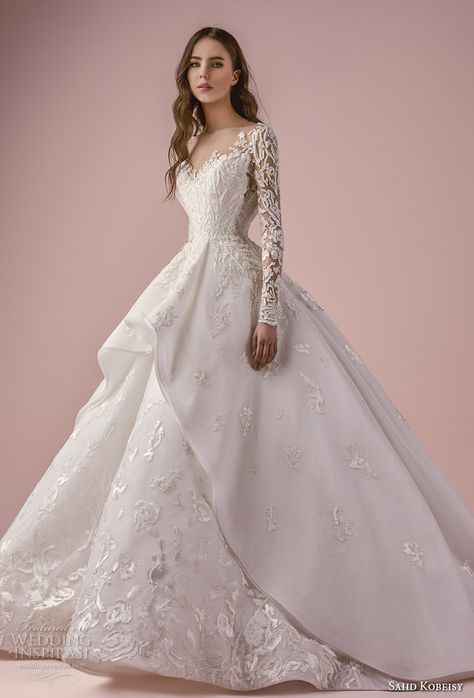 saiid kobeisy 2018 bridal long sleeves v neck heavily embellished bodice romantic princess layered skirt ball gown wedding dress chapel train (3265) mv -- Saiid Kobeisy 2018 Wedding Dresses