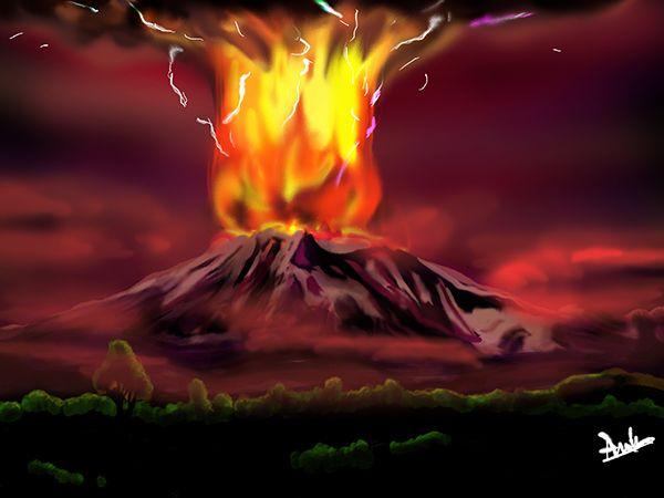 Ya! dibujado... -tenía que hacerlo, no estaba tranquila con eso- mi vecino en todo su esplendor... Volcán Calbuco, Los Lagos. Chile