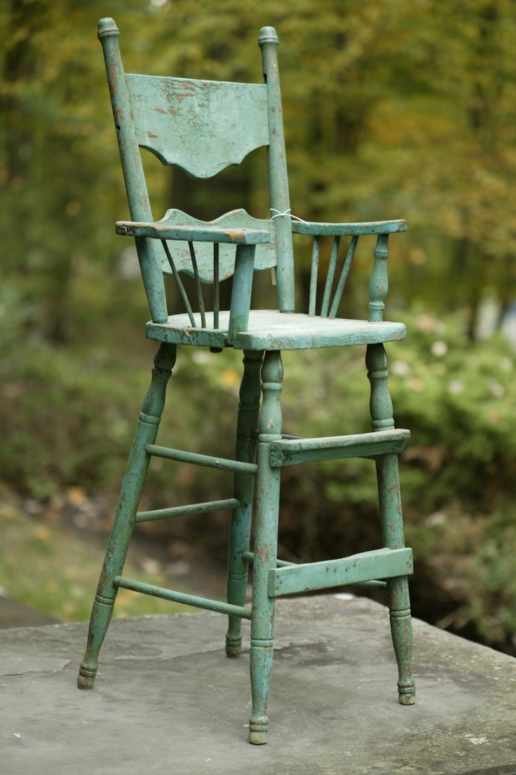 Painted wooden high chair - Child S Primitive Wood High Chair