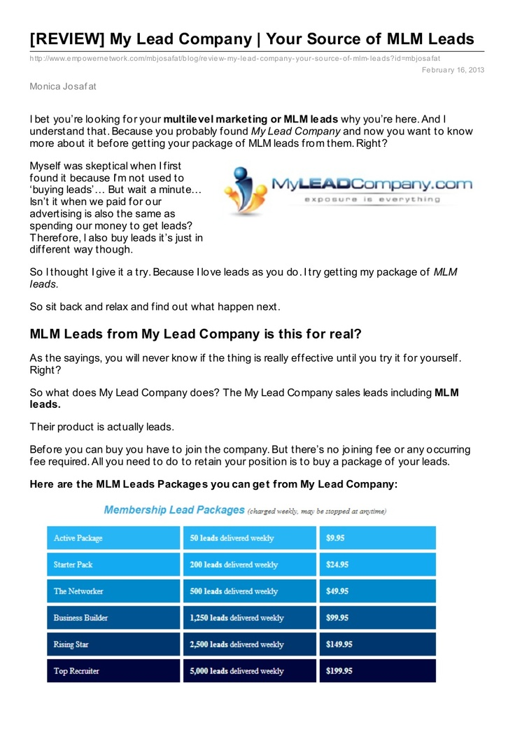 my lead company review...check this out..