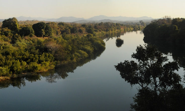 The Mazowe river.  Hippo Pools eco-resort is on the right.  The perfect place to see wildlife and relax.