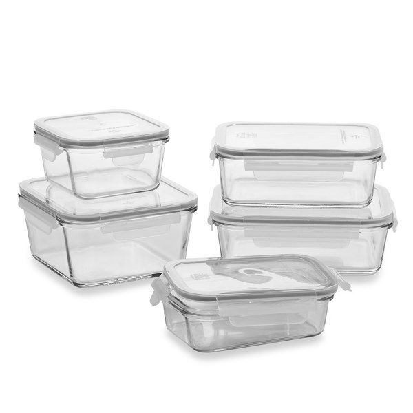 Store N Lock Glass Food Storage Set, 10-Piece - Bed Bath & Beyond