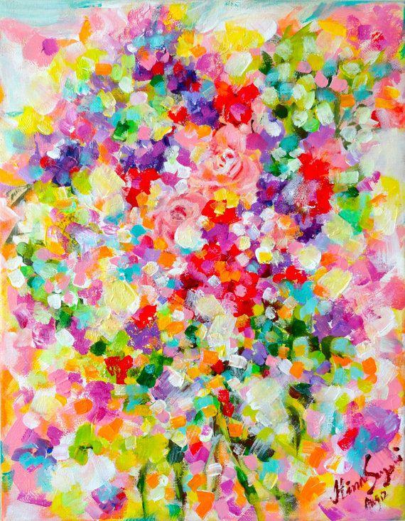 Original rosas flores pintura abstracta en por PeacockExpressions