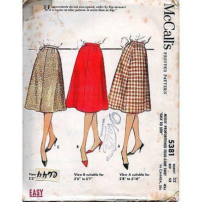 Misses Four-Gore Flared Skirt McCalls 5381 Pattern Vintage 1960 Size 32 c644