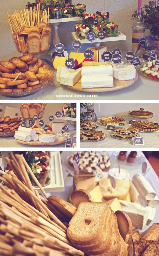 Buffet de quesos y patés - fiesta Parisien en colores lavanda