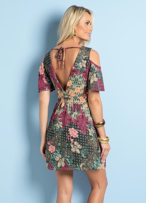 Vestido Ciganinha com Amarração Poá e Floral - Posthaus