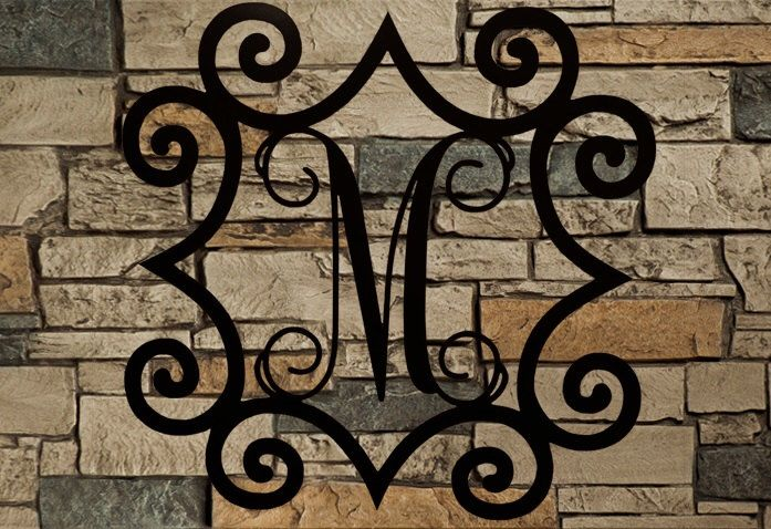 Large Single Metal Initial Vine Monogram With Wrought Iron