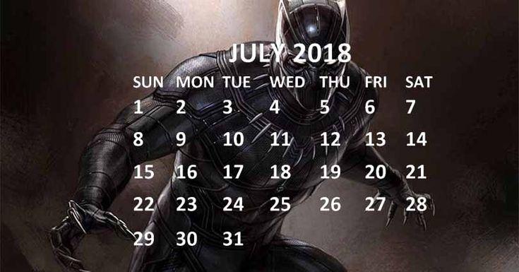Black Panther 2018 July Calendar