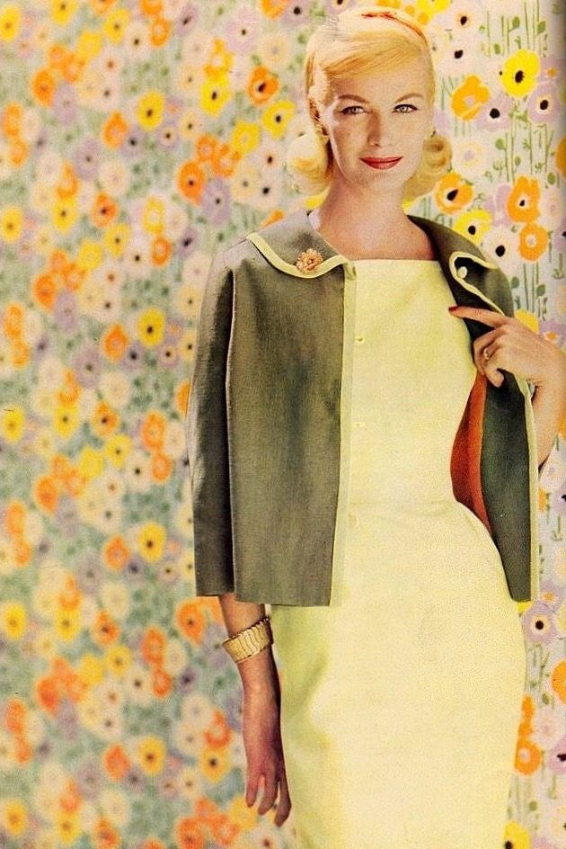 Sunny Harnett, Vogue Pattern, 1960 | flickr skorver1 yellow sheath dress green grey jacket cropped boxy MCM linen color photo print ad vintage fashion mad men super model