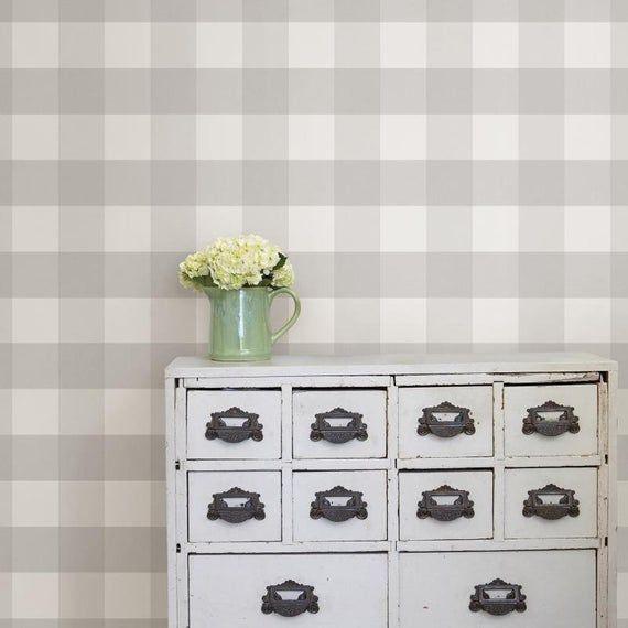 Nu2691 Farmhouse Plaid Grey White 5 Inch Buffalo Check Peel Etsy Peel And Stick Wallpaper Nuwallpaper Home Decor