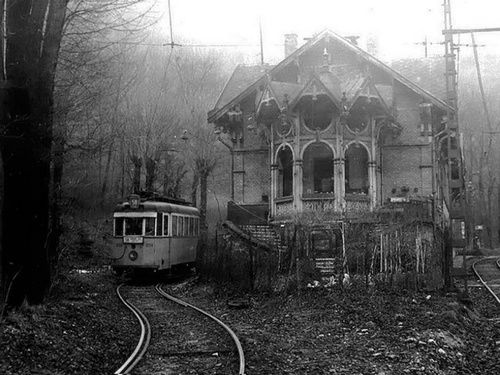 The old terminus of tram number 58, from around 1970. Zugliget, Budapest, Hungary