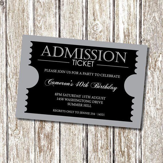 Admission Ticket Invitation - formal - Personalised and Printable