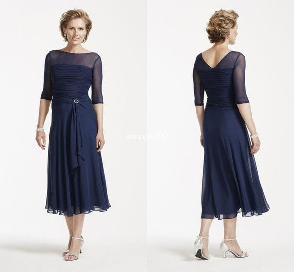 Simple Modest Illusion 1/2 Sleeve Mother Of The Bride