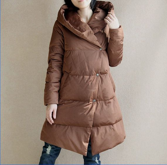 A-line Down Jacket Hooded Winter Down Jacket Women Warm Down Coat