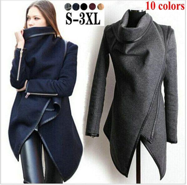 2015 Abrigos de invierno mujeres largo Abrigos de cachemira Desigual Designer abajo chaqueta Mujer Abrigos de lana Fur Manteau Abrigos de Mujer