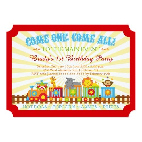 120 best circus birthday invitations images on pinterest circus cute circus train birthday party invitation stopboris Image collections