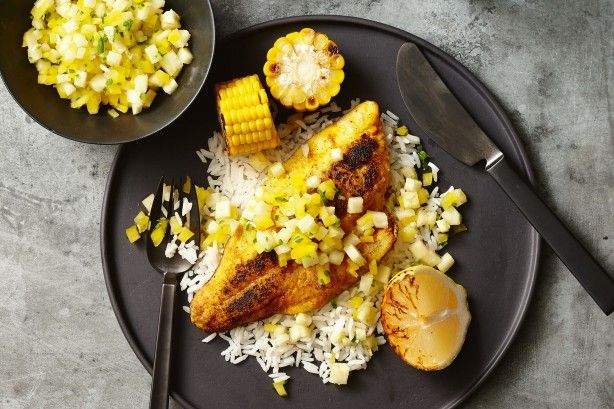 Spiced snapper with barbecued corn and pineapple salsa