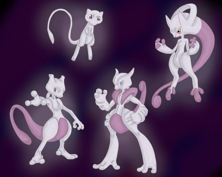 Mew and mewtwo mega evolution print ion pinterest - Mew mega evolution ...