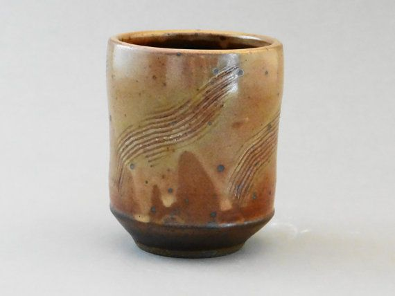 Rustic Brown Shino glazed stoneware teacup, yunomi, chawan, cup, tea bowl, tea cup, rustic teacup, father's day gift