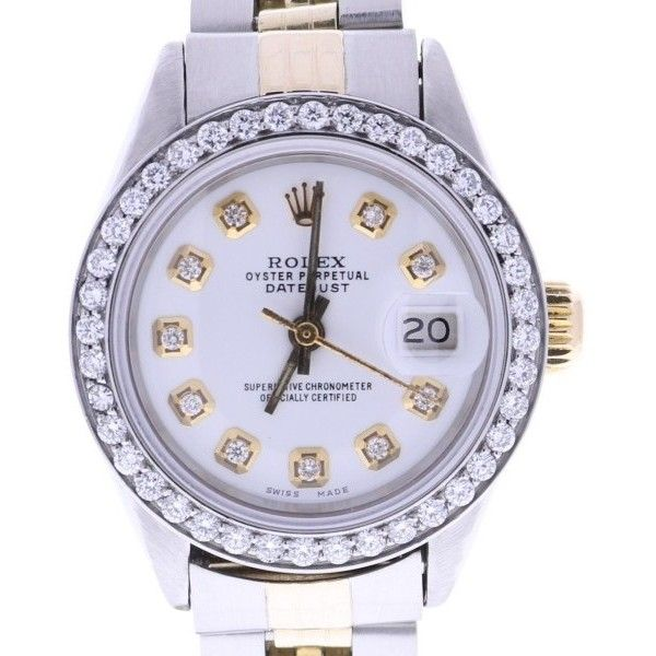 Pre-owned Rolex Datejust 6917 Stainless Steel with White Dial Vintage... ($4,000) ❤ liked on Polyvore featuring jewelry, watches, analog wrist watch, pre owned watches, stainless steel jewelry, crown jewelry and rolex watches
