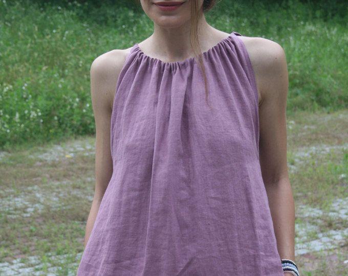 Maxi abito di lino estate lavata / carbone estate lino senza