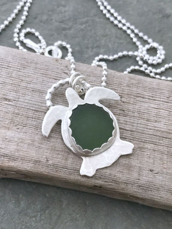 beach lovers gift 925 sterling silver beach jewelry Genuine green sea glass marble necklace hawaiian jewelry
