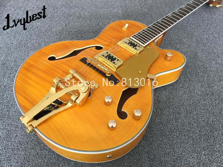 Electric guitar jazz oragne see thru ,gold parts,bigby tail,flame body top ,gold metalic pickguard,mahognay neck, free shipping #Affiliate