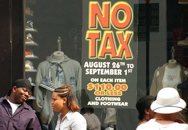 Sixteen states hold sales-tax holidays in July or August, with savings of up to $8 on every $100 spent.