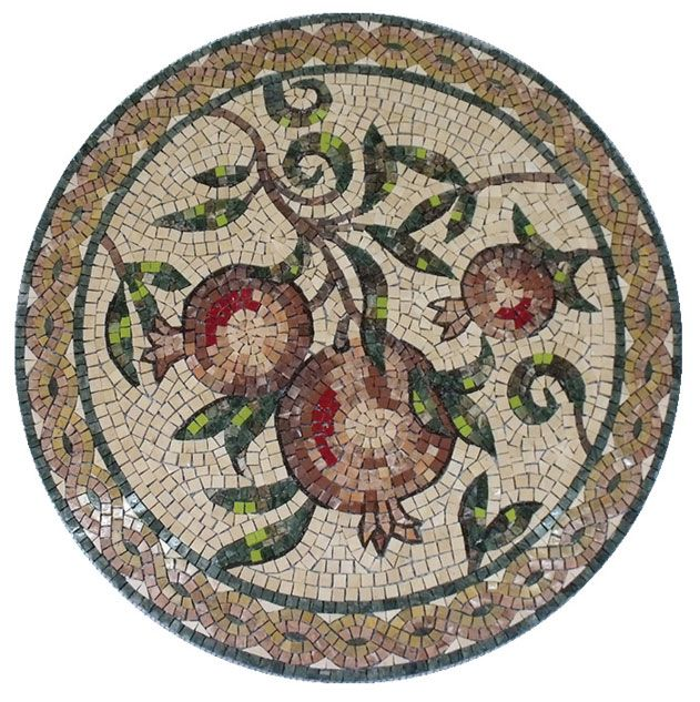 """One of a mosaic medallions series which presents the seven species Israel has been blessed with. Suitable for the decoration of institutions, synagogues, etc. """"like halves of a pomegranate behind your veil."""" (Song of Songs 4:3) Stones: natural, artificial Stone size: 04, 06, 10 mm Complexity: 300 Size: 80 cm diameter"""