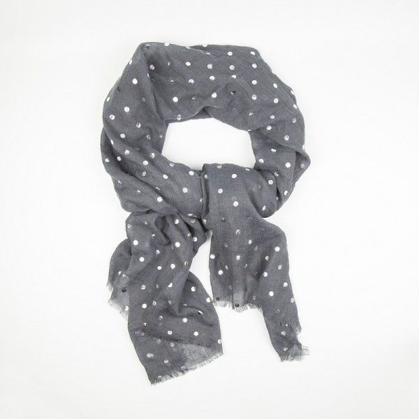 Grey Scarf with Silver Dots (23 AUD) ❤ liked on Polyvore featuring accessories, scarves, silver shawl, grey scarves, grey shawl, gray shawl and silver scarves