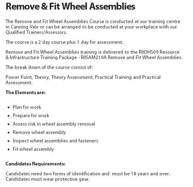 Remove & Fit Wheel Assemblies